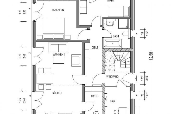 Zweifamilienhaus 740 in NRW und Hessen - Erdgeschoss