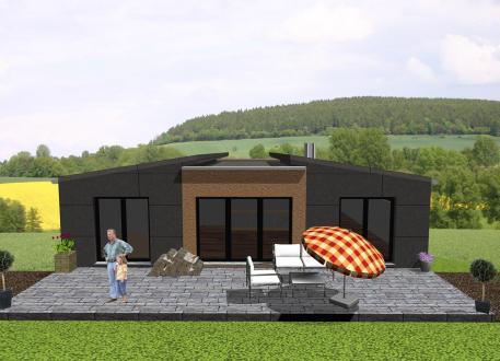 Haus mit Einliegerwohnung Futuristischer Bungalow mit Einliegerwohnung