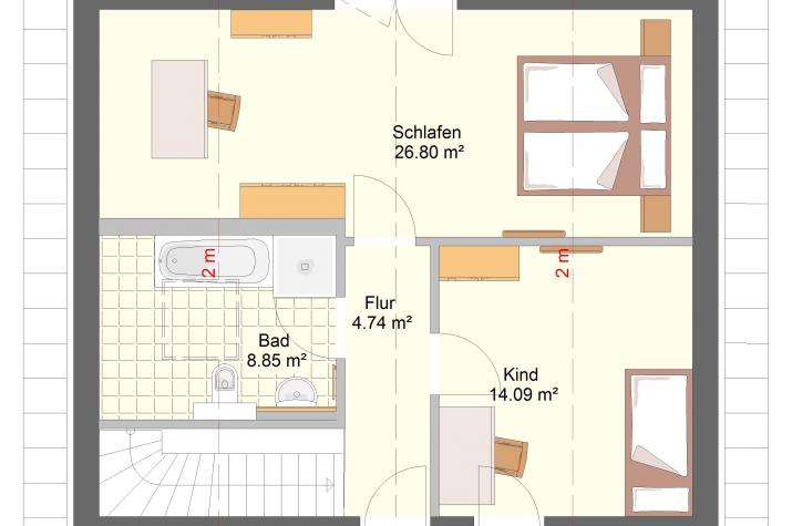 Klassik 11.28 Individuell planen & bauen - Einfamilienhaus - Skizzenansicht Dachgeschoss
