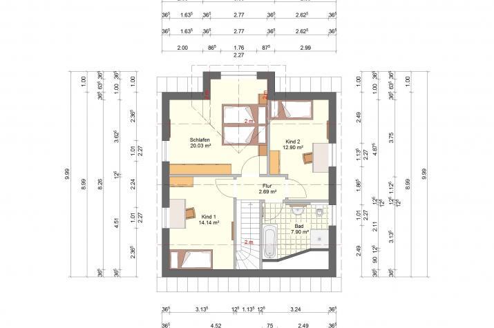 Klassik 11.29 Individuell planen & bauen - Einfamilienhaus - Dachgeschoss