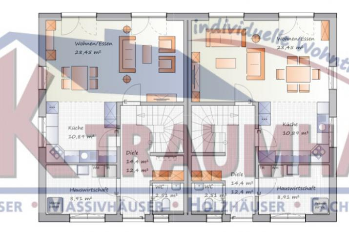 -individuell geplant- Stadtvilla im Doppelpack - www.jk-traumhaus.de - Grundriss EG