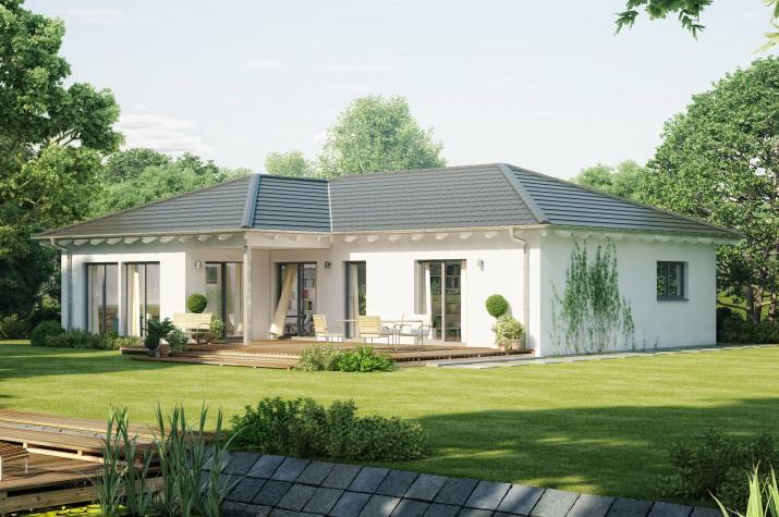 AMBIENCE 111 V3 - Eleganter Bungalow mit offenem Koch-Ess-Wohnbereich im Walmdach-Querhaus