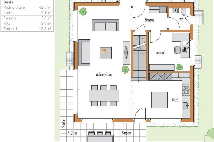 Ausbauhaus - 146 Stadtvilla -Energieklasse A+ - 95.300.-- € inkl. 19% MwSt.  - Erdgeschoss