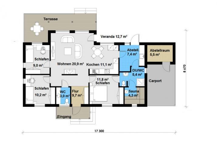 Ausbauhaus 108 mit Carport - Energieklasse A+- Kaufpreis 46.780.-- € inkl. MwSt. - Erdgeschoss