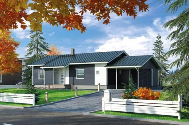 Ausbauhaus 108 mit Carport - Energieklasse A+- Kaufpreis 46.780.-- € inkl. MwSt. - Hausansicht