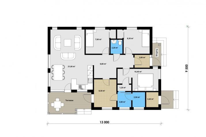 Ausbauhaus 109 - Energieklasse A+ - Kaufpreis 39.700.-- € inkl. MwSt. - Grundriss Erdgeschoss