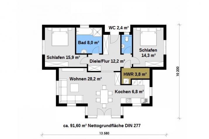 Ausbauhaus 112 - Energieklasse A+ - Kaufpreis 61.400.-- € inkl. MwSt. - Grundriss