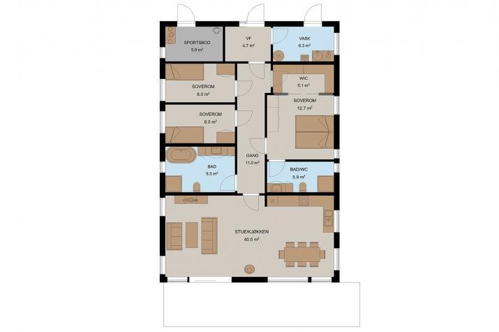 Ausbauhaus 117 - Energieklasse A+ -Kaufpreis 87.750.-- € inkl. MwSt.  - Erdgeschoss