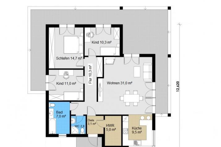 Ausbauhaus 124 -  Energieklasse A+  - Kaufpreis 43.300.-- € inkl. MwSt. - Grundriss Erdgeschoss