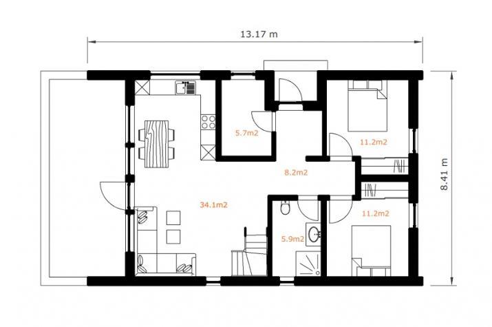 Ausbauhaus 128 - Energieklasse A+ - Kaufpreis 98.450.-- € inkl. MwSt. - Grundriss