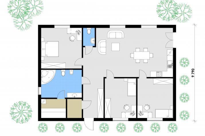 Ausbauhaus 137 - Energieklasse A+ - Kaufpreis 40.350.-- € inkl. 19% MwSt. - - Erdgeschoss