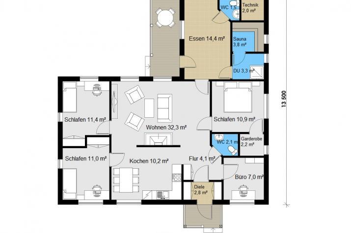Ausbauhaus 141 - Energieklasse A+ - Kaufpreis 45.700.-- € inkl. MwSt. - Grundriss Erdgeschoss