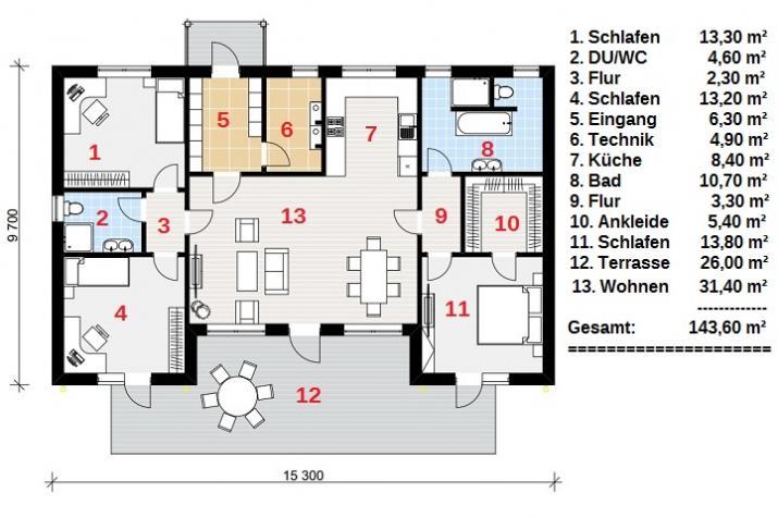 Ausbauhaus 144 - Energieklasse A+ - Kaufpreis 46.200.-- € inkl. MwSt. -
