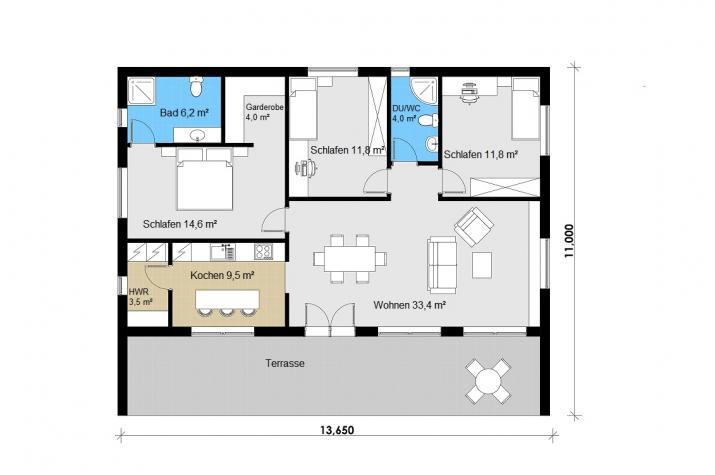 Ausbauhaus 150 - Energieklasse A+ -  Kaufpreis 43.180.-- € inkl. MwSt. - Grundriss Erdgeschoss