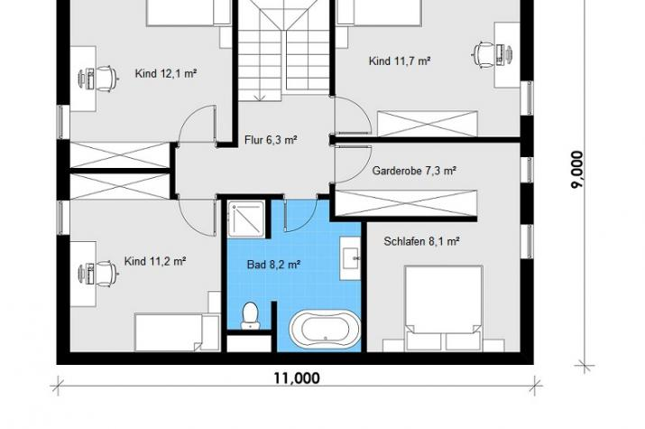 Ausbauhaus 160 -  Energieklasse A+  - Kaufpreis 70.900.-- € inkl. MwSt. - Dachgeschoss