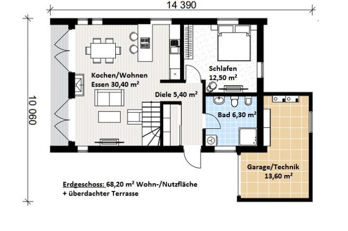 Ausbauhaus 170 - Energieklasse A+ - Kaufpreis 88.700.-- € inkl. MwSt. - Erdgeschoss