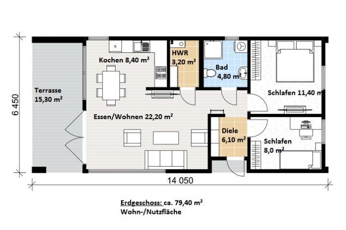Ausbauhaus 175 - Energieklasse A+ - Kaufpreis 93.300.-- € inkl. MwSt. - Erdgeschoss