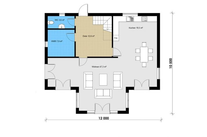 Ausbauhaus 180 -  Energieklasse A+  - Kaufpreis 76.180.-- € inkl. MwSt. - Grundriss Erdgeschoss
