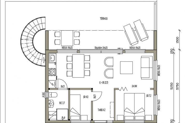 Ausbauhaus 44  - Energieklasse A+ - Kaufpreis 41.800.-- € inkl. MwSt. - Grundriss