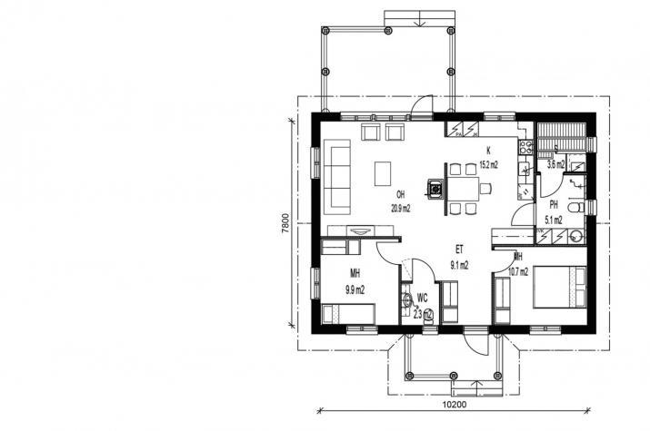Ausbauhaus 79 /2 -  Energieklasse A+  - Kaufpreis 45.900.-- € inkl. 19% MwSt. - - Grundriss