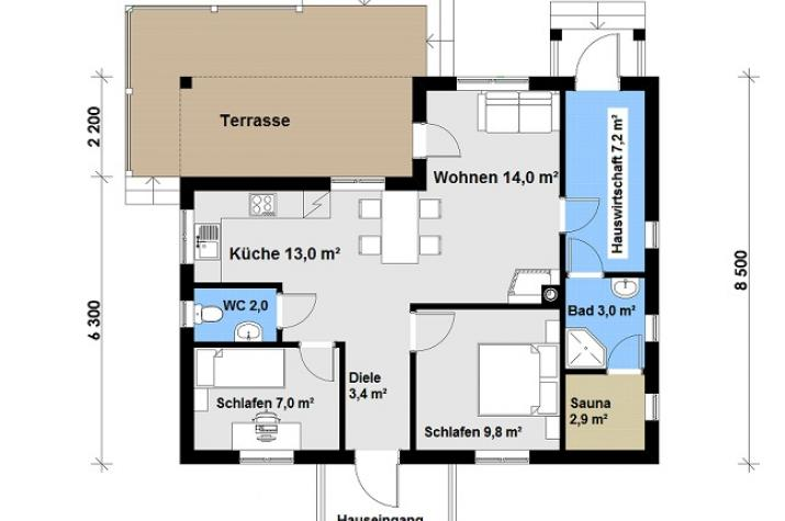 Ausbauhaus 87 - Energieklasse A+ - Kaufpreis 36.100.-- € inkl. MwSt. - Grundriss EG