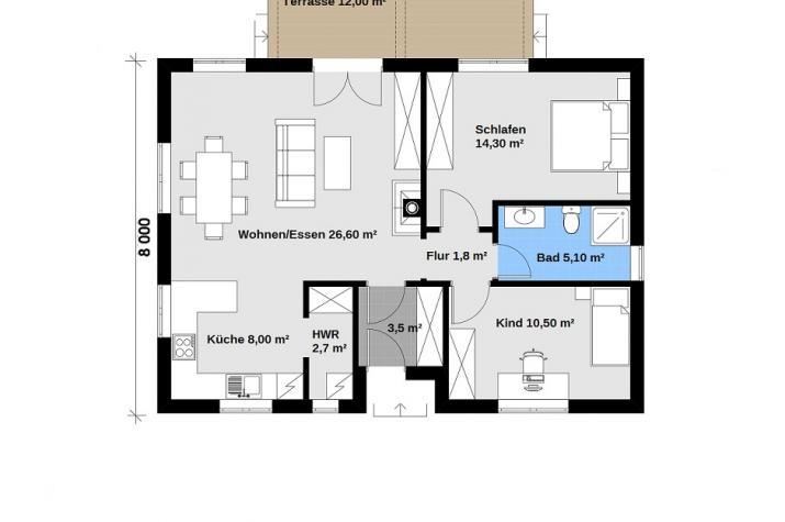 Ausbauhaus 88 -  Energieklasse A+ - Kaufpreis 40.350.-- € inkl. 19% MwSt.  - Grundriss