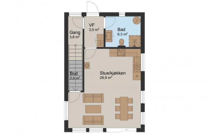 Ausbauhaus 92 - KfW 55 - Kaufpreis 69.000.-- € inkl. MwSt. - Erdgeschoss