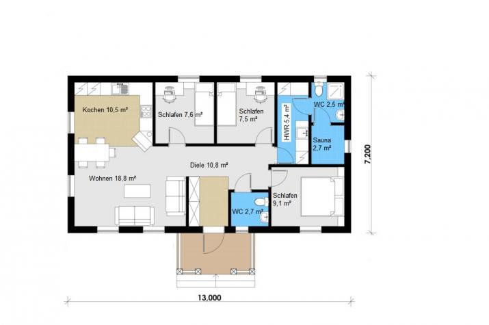 Ausbauhaus 94 -  Energieklasse A+ - Kaufpreis 37.060.-- € inkl. MwSt. - Grundriss Erdgeschoss