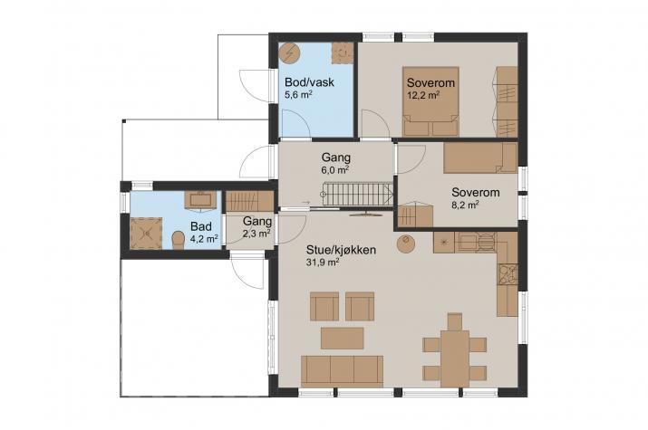 Ausbauhaus 95 - Energieklasse A+ - Kaufpreis 61.795.-- € inkl. MwSt. - Erdgeschoss