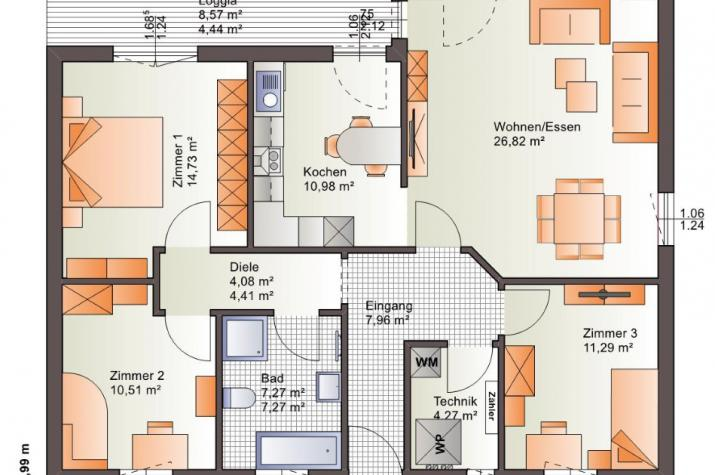 Bärenhaus Bungalow One 107 - One 107 Erdgeschoss