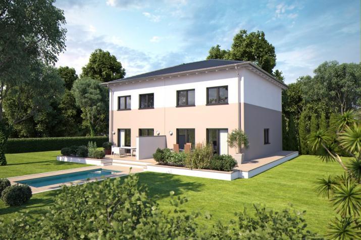 B renhaus doppelhaus duo 110 for Doppelhaus garten gestalten