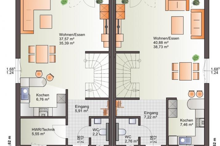 Bärenhaus Doppelhaus Duo 148 - Duo 148 Erdgeschoss