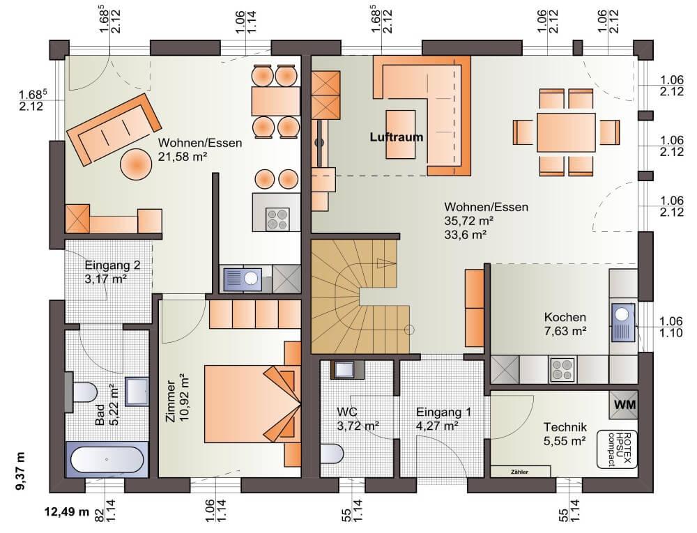 B renhaus zweifamilienhaus esprit 184 b renhaus for Zweifamilienhaus plan