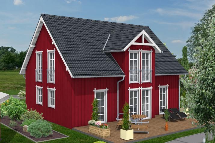 Bauen Sie im  Schwedenhausstil mit Holzverbundhaus - Hausansicht Schwedenstil