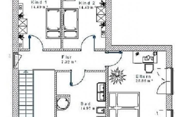 Bauhaus-Stil 10.17 - Skizze Dachgeschoss