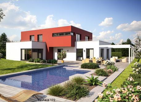 Niedrigenergiehaus Bauhausvilla - Flachdach - bis zu 2 Dachterrassen - schlüsselfertig