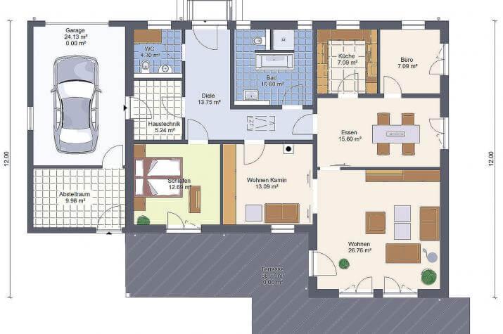 bungalow 126 mit garage sawohaus. Black Bedroom Furniture Sets. Home Design Ideas