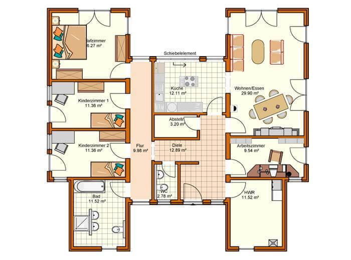 Grundriss bungalow u-form mit garage  ᐅ BUNGALOW bauen ▷ 208 Bungalows mit Grundrissen & Preisen