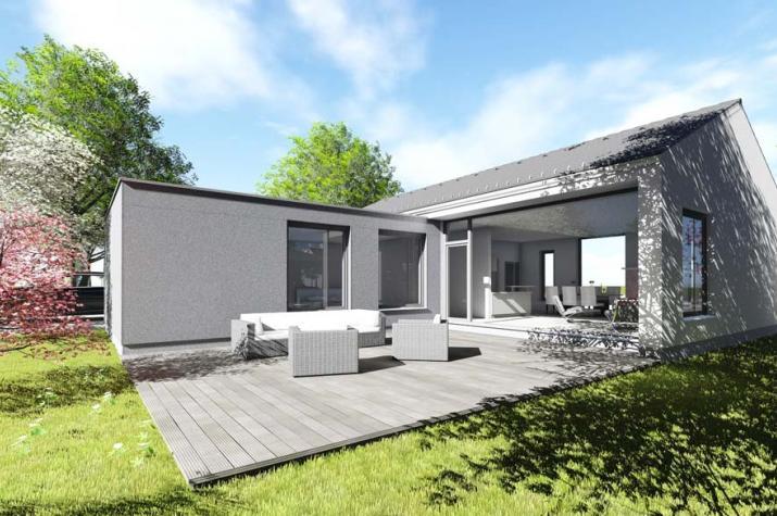 Bungalow typ 1 mit 129 qm br uer architekten rostock for Atriumhaus bauen