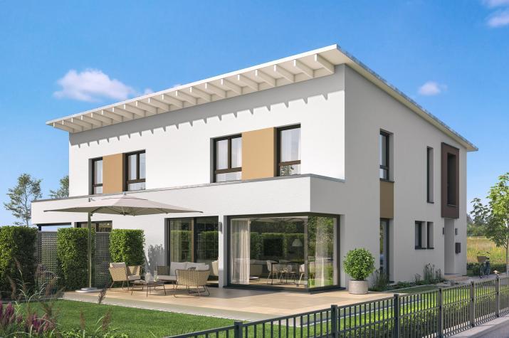 CELEBRATION 139 V4 L - Modernes Doppelhaus mit hellem Wohn-Ess-Bereich und Wintergarten-Erker