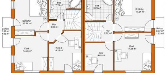 Doppelhaus duo 118 for Zweifamilienhaus grundriss fertighaus