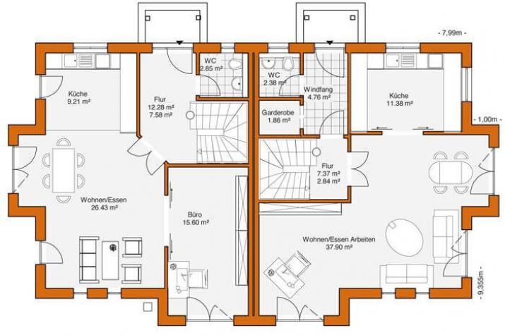 Doppelhaus duo 118 hauswerk gmbh for Zweifamilienhaus planen