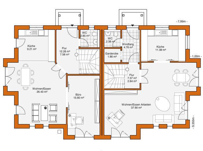 Doppelhaus duo 118 hauswerk gmbh for Zweifamilienhaus plan
