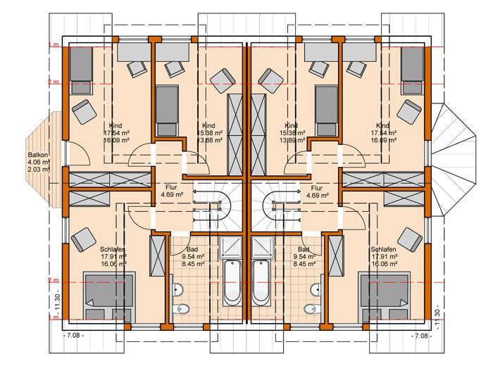 Doppelhaus duo 131 hauswerk gmbh for Zweifamilienhaus plan