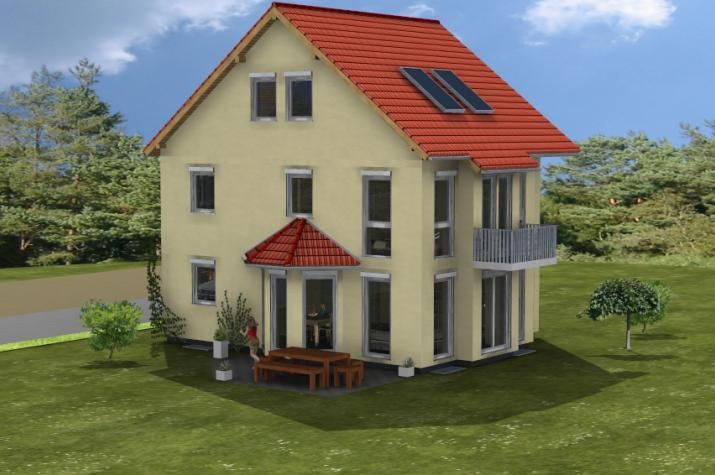 Doppelhaus Obernau - Gartenansicht