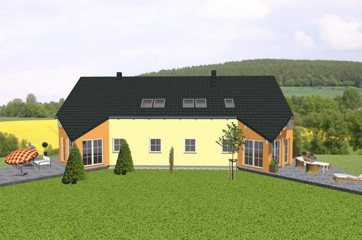 Doppelhaus mit markantem Spitzerker und Balkon - www.jk-traumhaus.de -