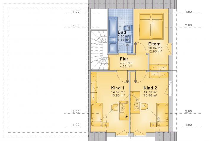 Doppelhaushälfte DHH 109 V02 - Grundriss DG