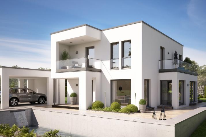 EVOLUTION 134 V5 - Traumhaus im Bauhausstil mit Doppelcarport, Erker und zwei Balkonen