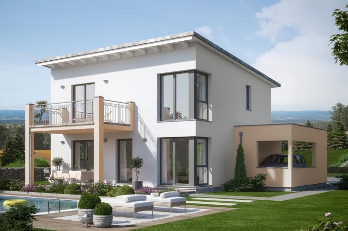 EVOLUTION 136 V5 - Schickes Einfamilienhaus mit Terrassenbalkon und Design-Carport