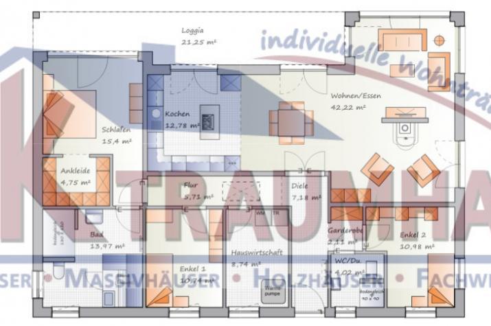 Ebenerdiges wohnen mit ansprechendem grundriss for Traumhaus grundriss